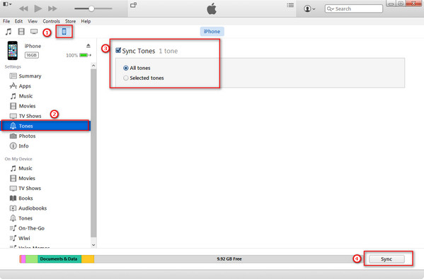 Sincronizza suonerie da iTunes a iPhone