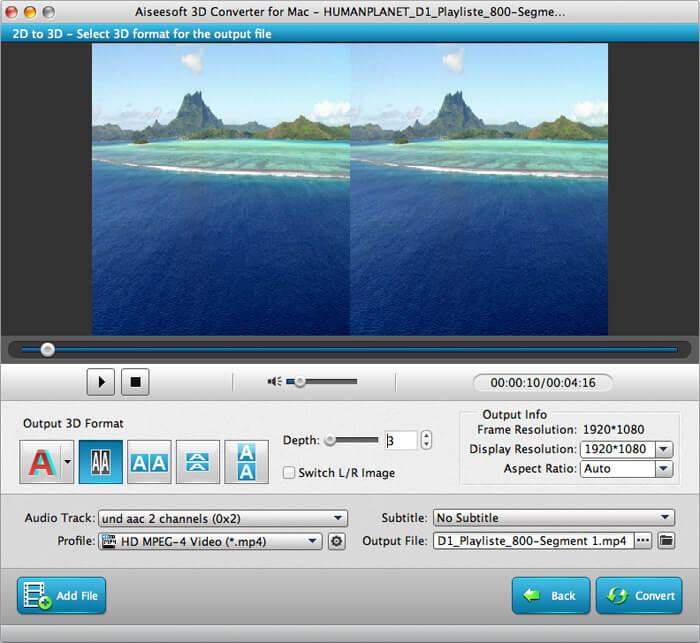Aiseesoft 3D Converter for Mac full screenshot