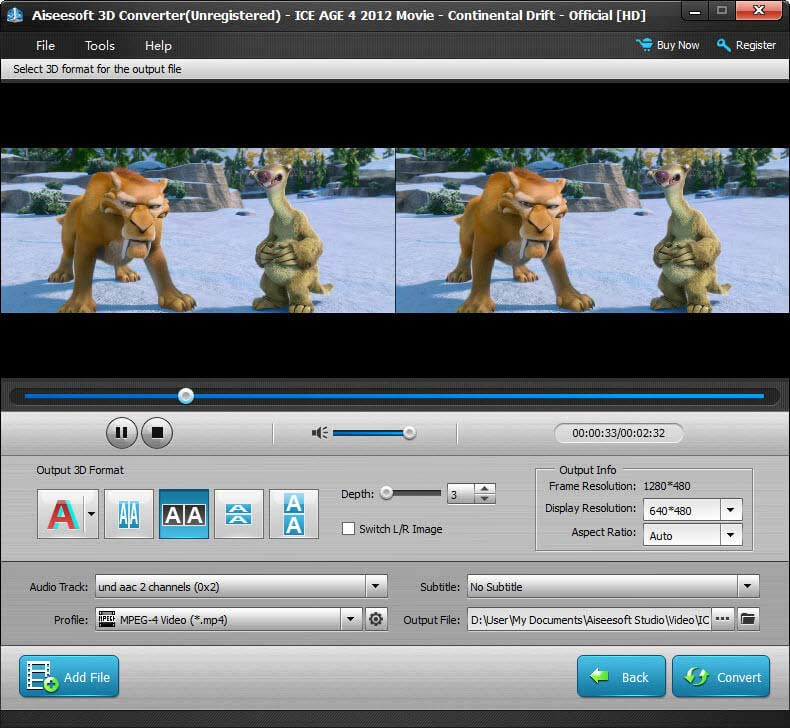 It converts 2D videos to 3D videos or 3D videos to 3D videos versatile Screen Shot