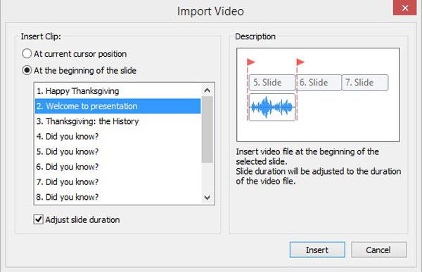 Importa regolazione video