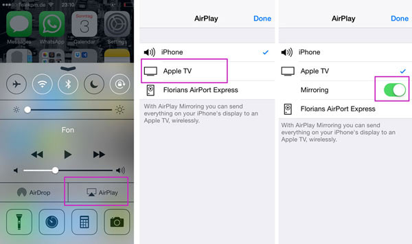 AirPlay Mirroring iPhone on iOS 7