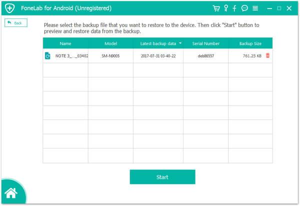 Elenco di backup dei messaggi Samsung