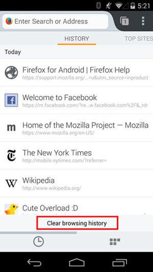 Clear Mozilla Firefox Browsing History on Android