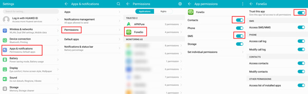 allow FoneGo Peemission on your Android