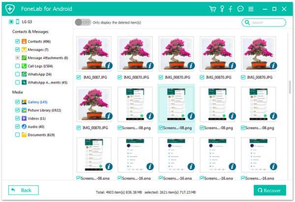 Ripristina i dati Android selezionati