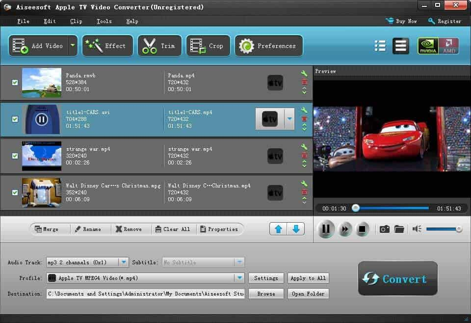 Click to view Aiseesoft Apple TV Video Converter screenshots