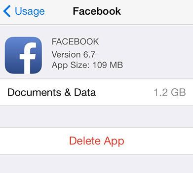 Elimina l'app di Facebook per cancellare la cache dell'app