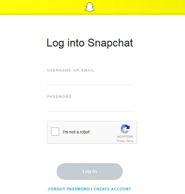 Accedi all'account Snapchat