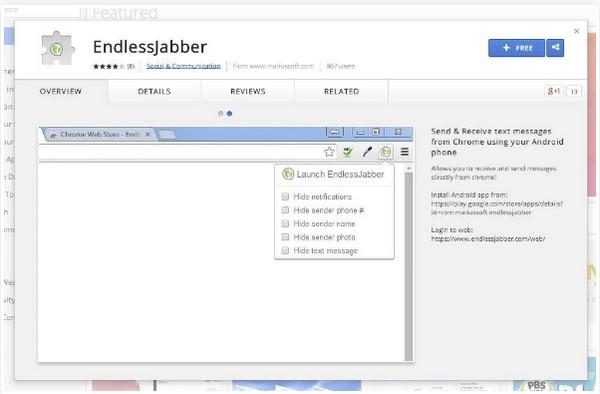 Εγκαταστήστε την εφαρμογή EndlessJabber SMS στον Ιστό
