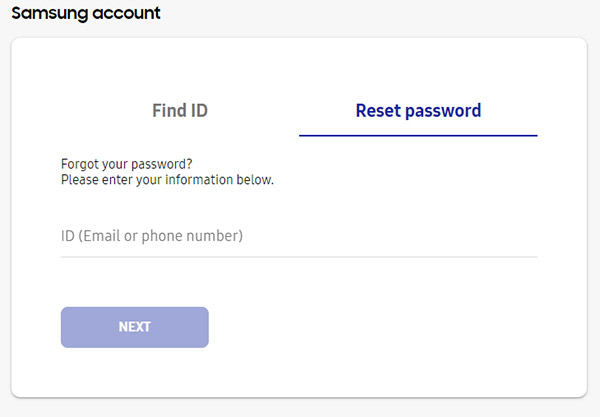 Reimpostazione password account Samsung