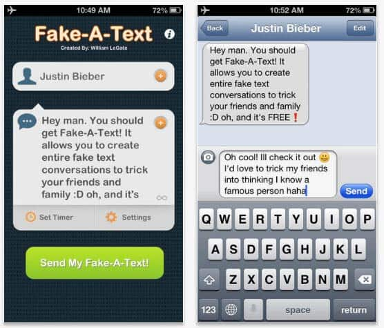 android app to send fake text messages
