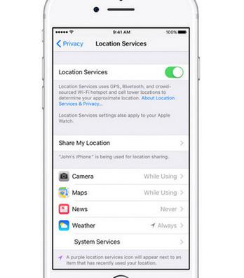 Zapněte služby sdílení polohy iPhone