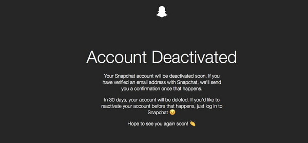 Snapchat Account Deactivated