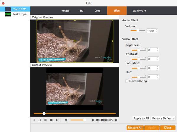 personalizzare l'effetto video