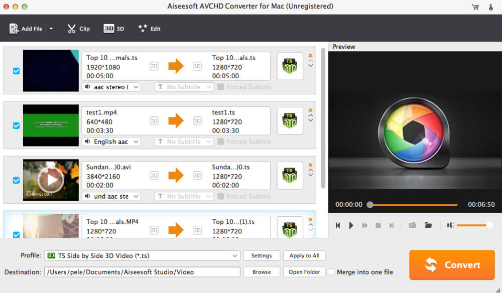 Aiseesoft AVCHD Converter for Mac full screenshot