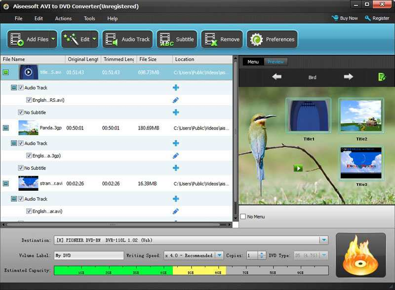 Click to view Aiseesoft AVI to DVD Converter screenshots