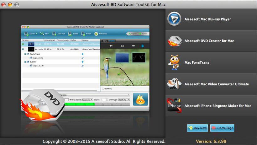 Aiseesoft BD Software Toolkit for Mac full screenshot