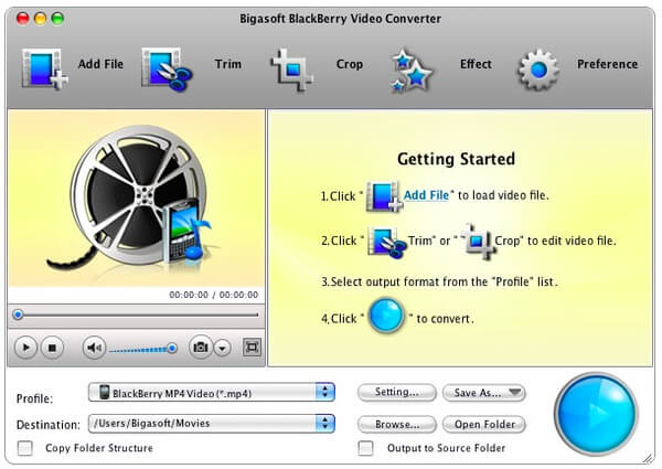 Bigasoft BlackBerry Video Converter for Mac