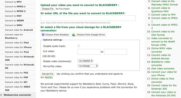Conversione online di BlackBerry Video Converter
