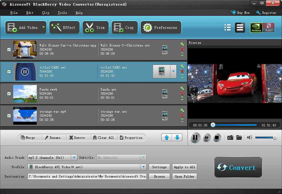 Aiseesoft BlackBerry Video Converter screenshot