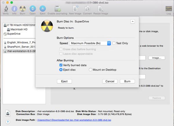Masterizza ISO su DVD su Mac