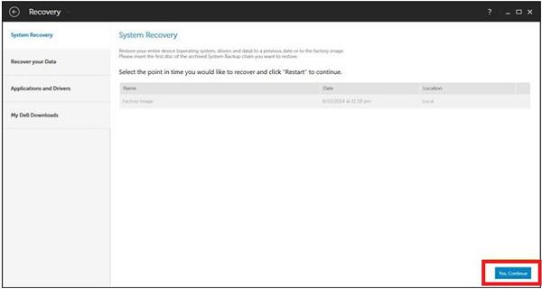 Επιλέξτε Dell Backup