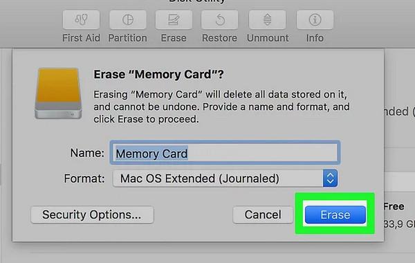 Sformatuj kartę SD na komputerze Mac