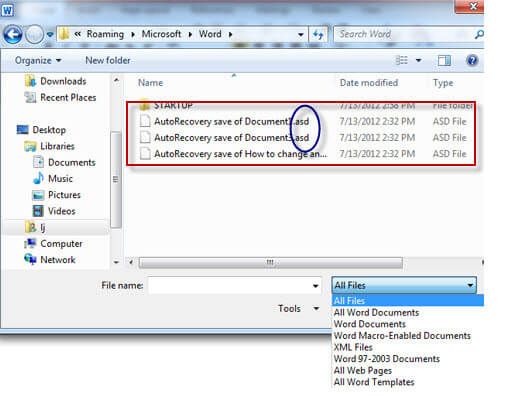 How to Open/Recover ASD File on Word 97-2003/2007/2010/2013/2016