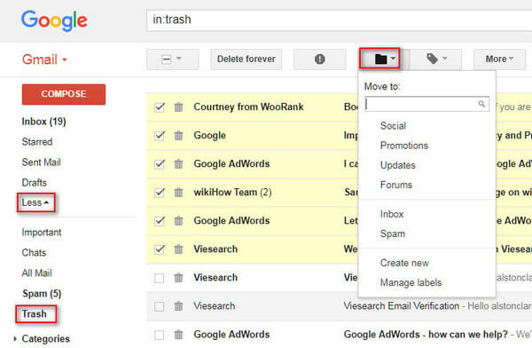 Recupera le email cancellate da Gmail