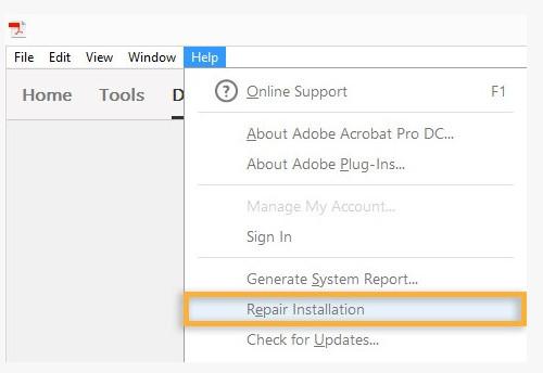 Ripara l'installazione PDF