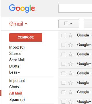 Selecteer Alle e-maillabel