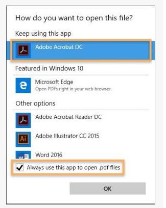 Установить PDF Reader по умолчанию в Windows