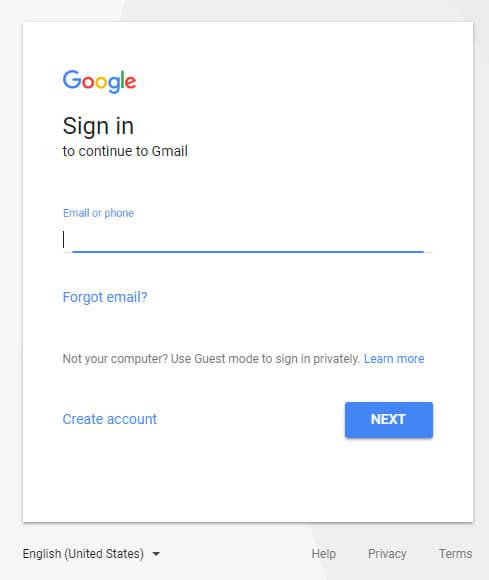 Log in bij Gmail