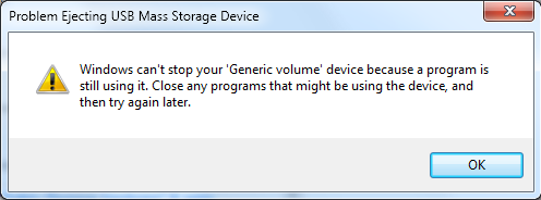 USB Drive Cant Be Safely Removed
