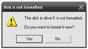Disk Is Not Formatted