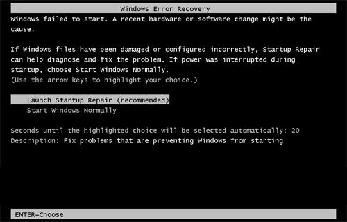 Ripristino errori di Windows