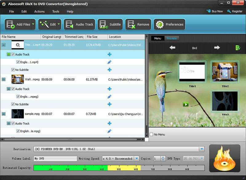 Click to view Aiseesoft DivX to DVD Converter screenshots