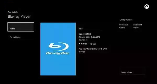App Blu-ray Disc per Xbox One