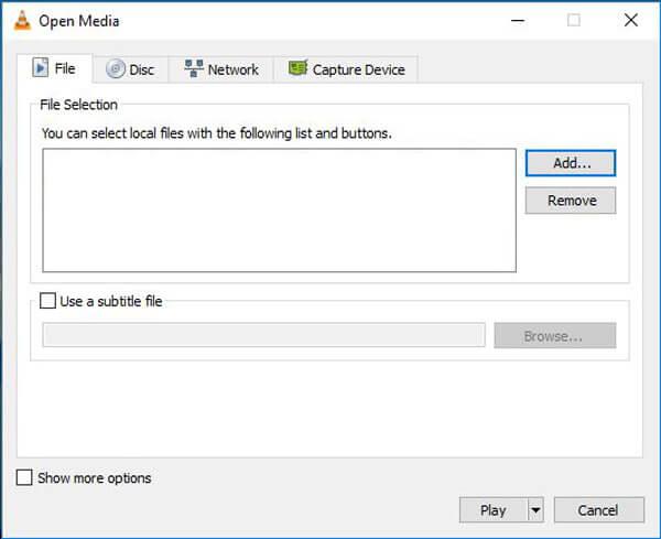 Επεξεργασία βίντεο με VLC Προσθήκη αρχείου
