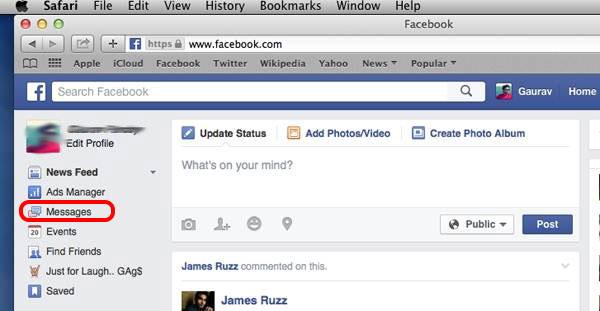 Trova e controlla Facebook Altri messaggi sul computer