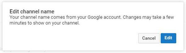 Επεξεργασία ονόματος καναλιού YouTube