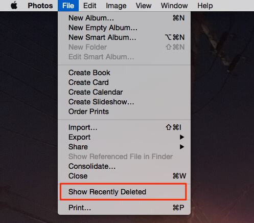 Show Recently Deleted Photos on Mac