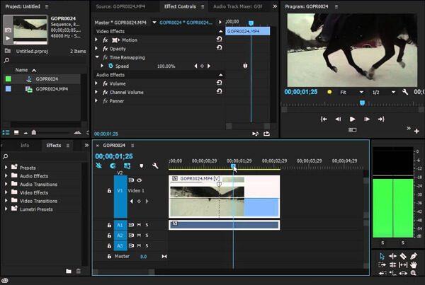 Interfaccia di Adobe Premiere Slow Motion