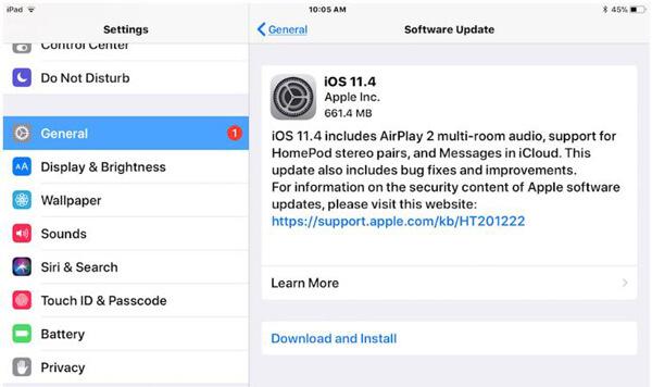 Aggiorna la versione iOS su iPad