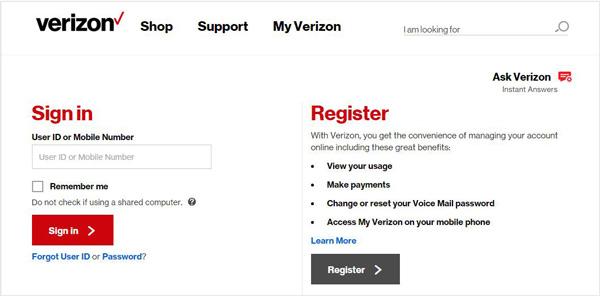 Web Verizon Messages
