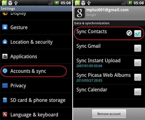 Contatta il backup da Android Phone a Gmail