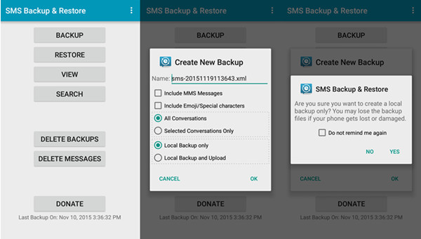 Crea SMS Backup su Android