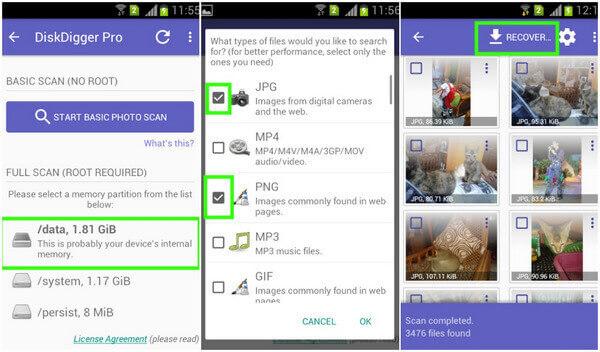Odzyskaj usunięte zdjęcia z Androida za pomocą DiskDigger