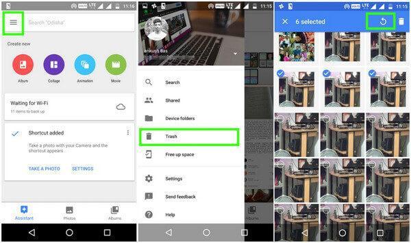 Recupera le foto cancellate da Android utilizzando Google Foto