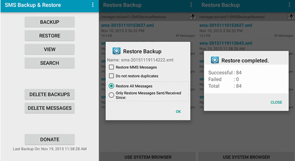 Restore SMS Backup on Android